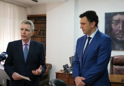 Δηλώσεις Υπουργού Υγείας Βασίλη Κικίλια και Πρέσβη ΗΠΑ Geoffrey Pyatt μετά τη συνάντησή τους στο Υπουργείο Υγείας