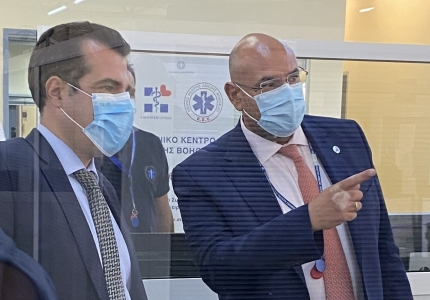 Επίσκεψη Υπουργού Υγείας Θάνου Πλεύρη στο ΕΚΑΒ-ΚΕΠΥ