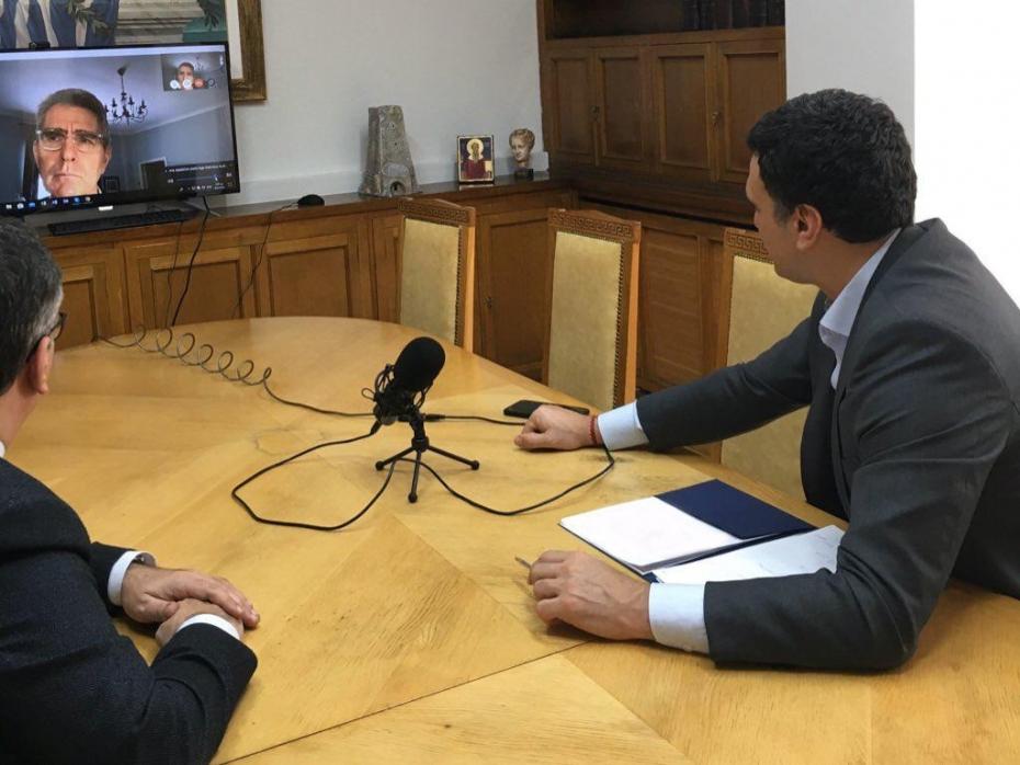 Τηλεδιάσκεψη Υπουργού Υγείας Βασίλη Κικίλια και Υφυπουργού Υγείας Βασίλη Κοντοζαμάνη με τον Πρέσβη των Η.Π.Α. στην Ελλάδα Geoffrey Pyatt