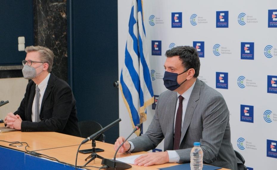 Ενημέρωση διαπιστευμένων συντακτών από τον Υπουργό Υγείας Βασίλη Κικίλια και τον Υφυπουργό παρά τω Πρωθυπουργώ, αρμόδιο για το συντονισμό του κυβερνητικού έργου, Άκη Σκέρτσο